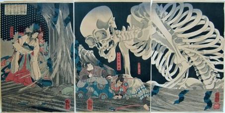 Kuniyoshi_Mitsukini_Defies_Skeleton